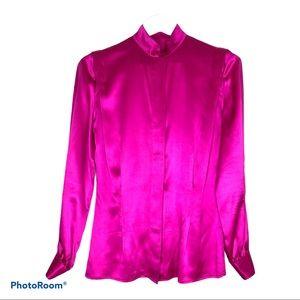 100% Silk Vintage Long Sleeve Blouse Collar Pink